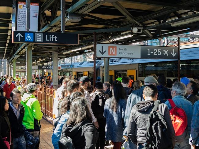 Train delays at Central station today. Picture: Jack Breed