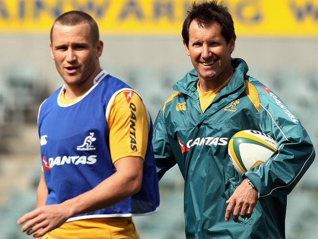 Matt Giteau and Robbie Deans, the Wallabies coach at the 2011 Rugby World Cup.