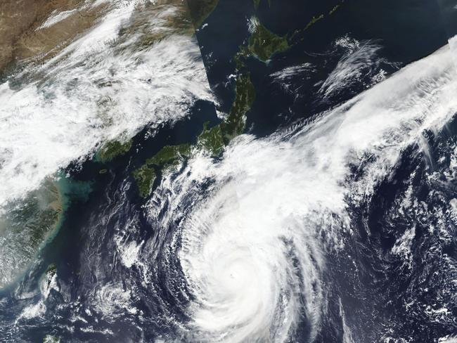 This satellite photo taken by NASA-NOAA's Suomi NPP satellite shows typhoon Hagibis approaching Japan. Picture: AP