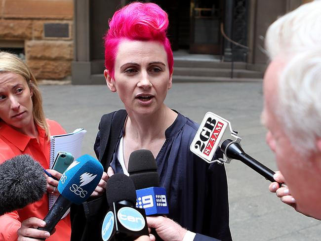 Lucy Perry leaves the Child Sex Abuse Royal Commission.