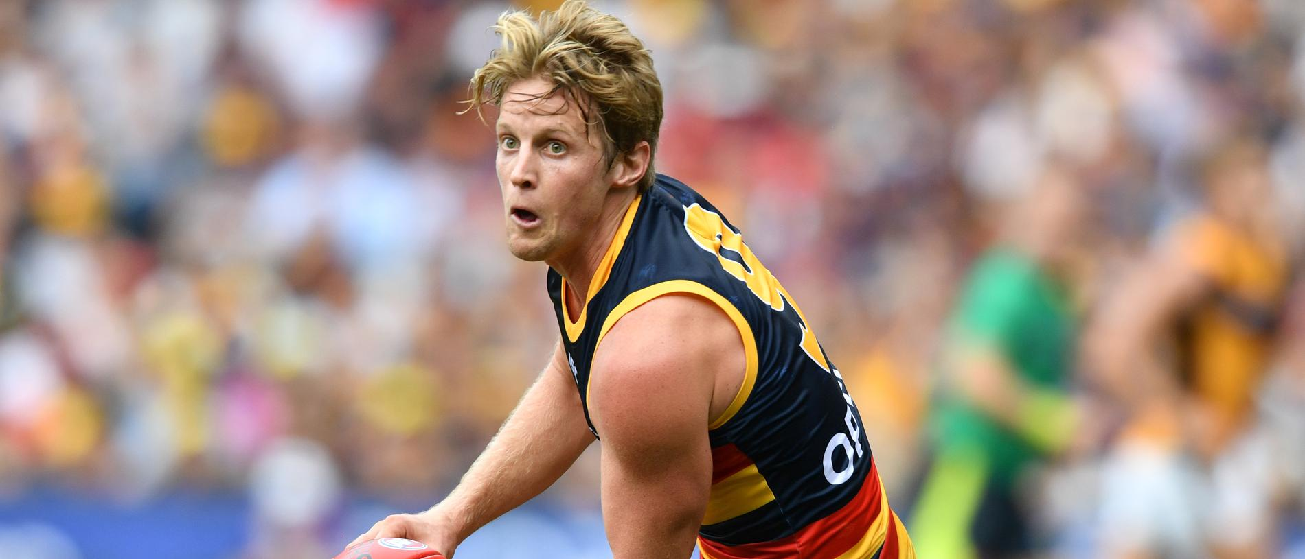 Rory Sloane of the Crows during the Round 1 AFL match between the Adelaide Crows v Hawthorn Hawks at the Adelaide Oval in Adelaide, Saturday, March 23, 2019. (AAP Image/David Mariuz) NO ARCHIVING, EDITORIAL USE ONLY