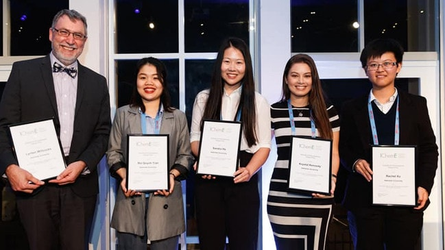 Left to right: Lynton Willcocks (project mentor), Mai Quynh Tran, Sandra Ha, Krystal Kennedy and Rachael Xu Picture: Krystal Kennedy/Supplied