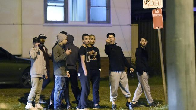 Youths gesture to a photographer after the party is broke up. Picture: Gordon McComiskie
