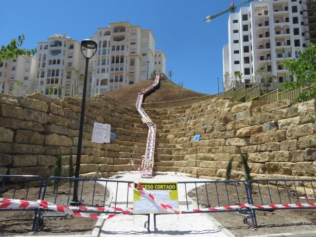 The longest urban slide in Spain has been shut down within hours of it opening. Picture: GTres/Splash News