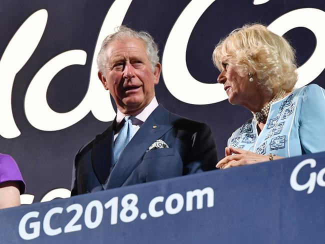 Prince Charles and Camilla, Duchess of Cornwall are seen during the Opening Ceremony