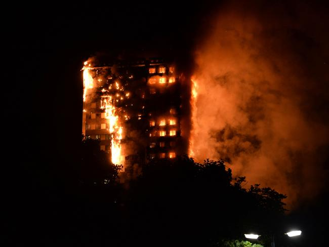 Horrified residents watched on as their neighbours were trapped in the blaze. Picture: AFP PHOTO / Giulio Thuburn / Giulio Thuburn
