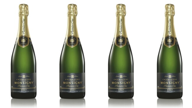 Monsigny Premier Cru Champagne NV $25.00 from Aldi. Photo: Supplied