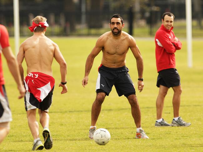 Adam Goodes was a talented soccer player as a junior.