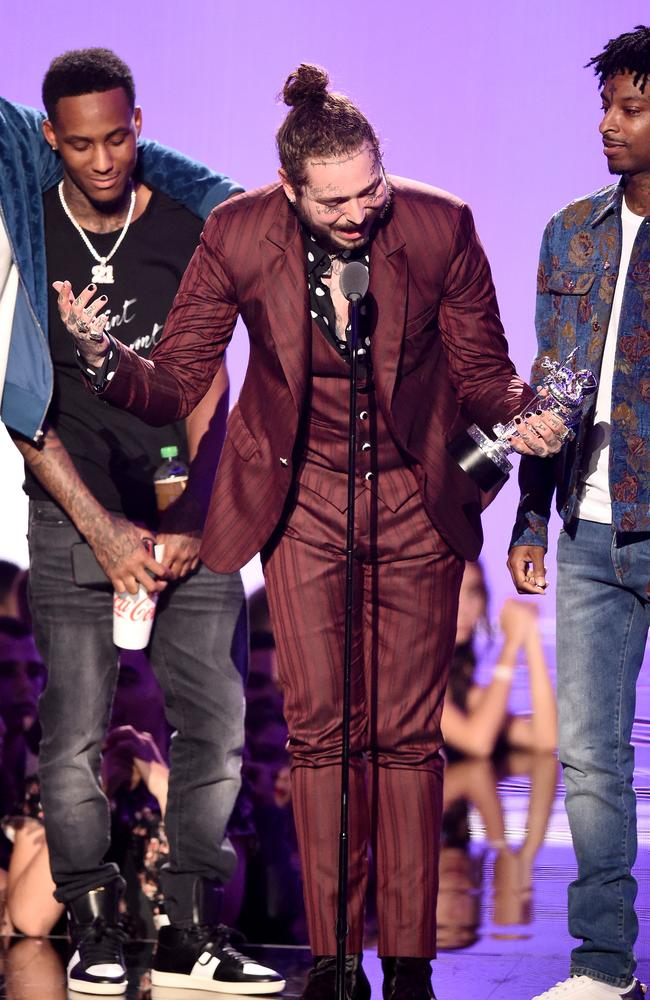 Post Malone, centre, and 21 Savage (right), won Song of the Year.
