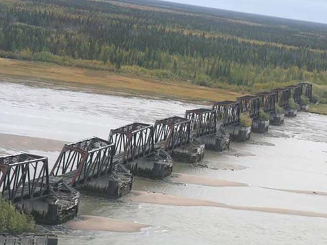The never used, long abandoned bridge over the Nelson River at ghost town Port Nelson, whose population peaked at 1000 in the early 20th century. Picture: Twitter