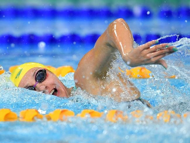 Ariarne Titmus powers to victory in the 400m freestyle final. Picture: AAP