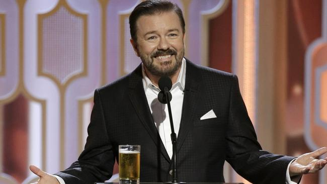 Ricky Gervais is back for his fifth time as Golden Globes host on Monday. Picture: Getty Images.