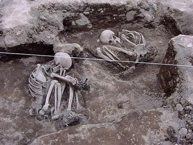 Two skeletons found in the excavations in Ecatepec, Mexico. Archaeologists excavating an Aztec settlement in 2004 found some of the first physical evidence to support the gory sacrifices depicted in a centuries-old Indian book of paintings known as a codex.