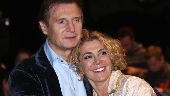 With late wife Natasha Richardson in 2008. Picture: AFP