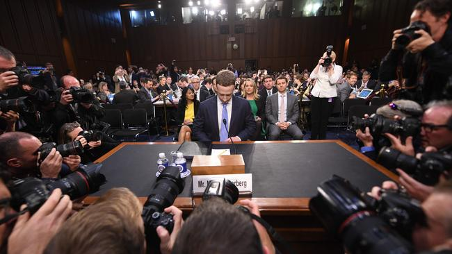 Mark Zuckerberg arrives to testify before a joint hearing of the US Senate Commerce, Science and Transportation Committee and Senate Judiciary Committee on Capitol Hill, April 10, 2018 in Washington, DC. Picture: Jim Watson