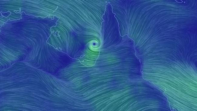 Wind map showing ex-Tropical Cyclone Owen on Tuesday morning entering the Gulf of Carpentaria. Picture: Earthschool