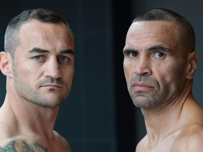 Tommy Browne and Anthony Mundine. (NEWS CORP/Simon Bullard)