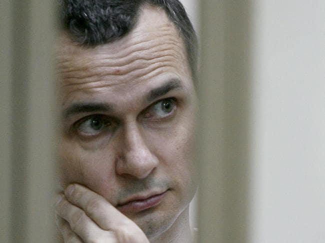 Ukrainian film director Oleg Sentsov was among those involved in the landmark prisoner swap, after being released from a Russian jail. Picture: AFP