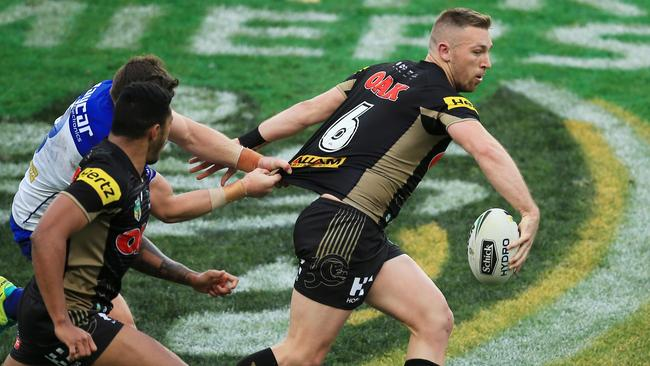 Bryce Cartwright looks to offload. Picture: Mark Evans