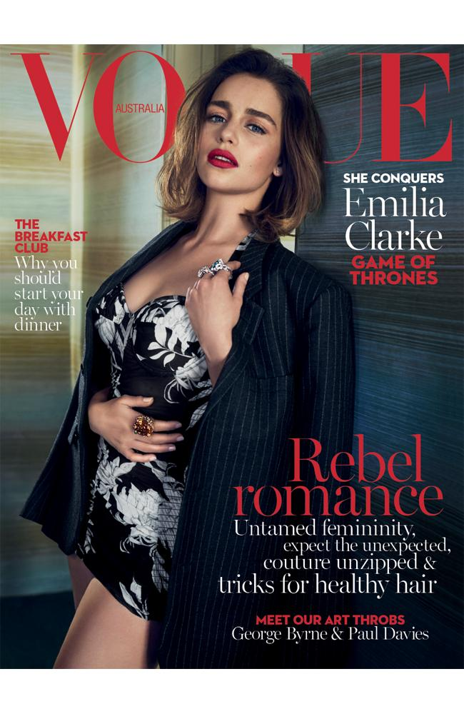 The May issue of Vogue Australia, with Game of Thrones star Emilia Clarke on the cover.