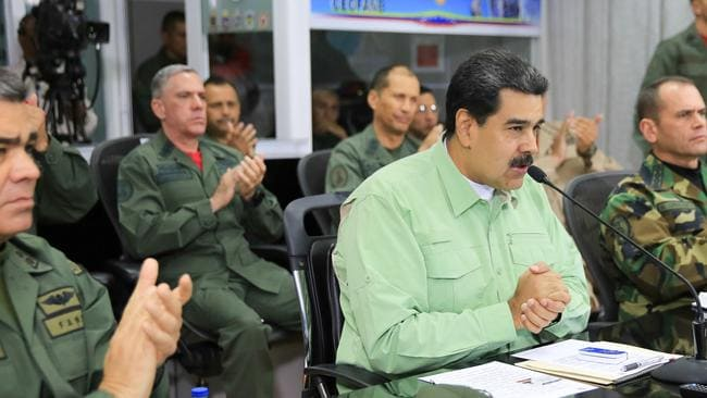 President Nicolas Maduro has warned that any US aid entering the country is mere prelude to military intervention. Picture: AFP