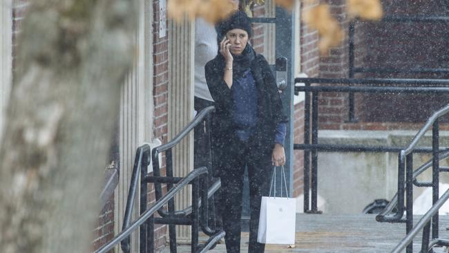 Kylie Lim pictured outside the Boston hospital where James Packer received treatment after his breakdown. Picture: Angus Mordant, News Corp Australia