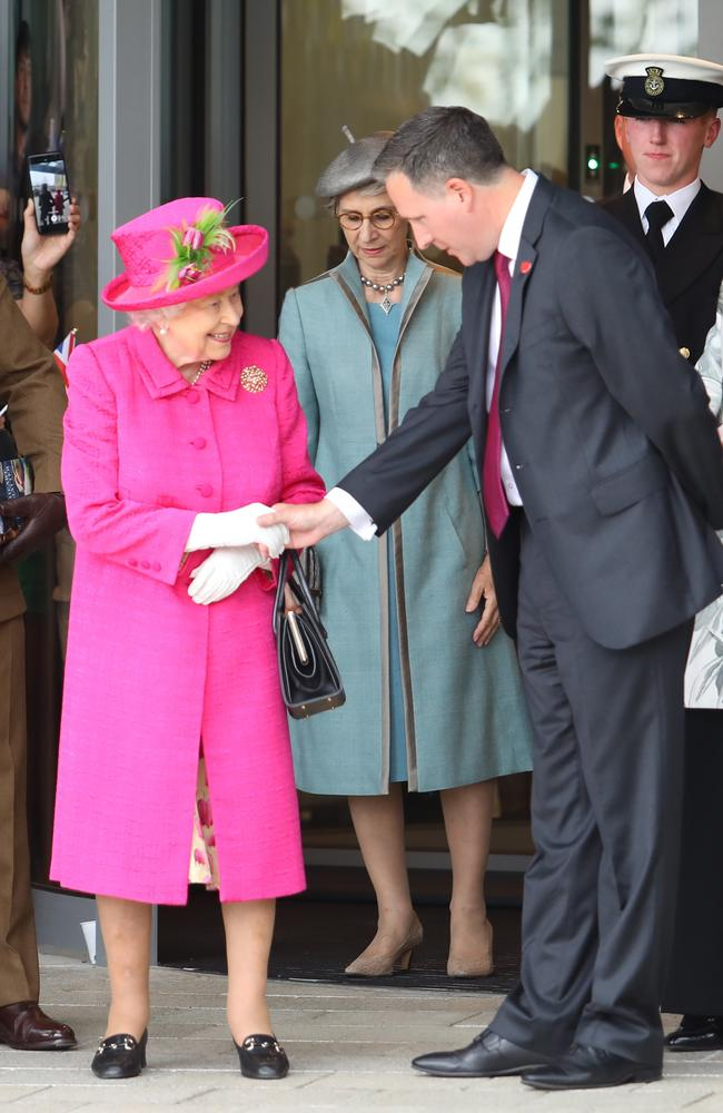The Queen seemed to channel Reese Witherspoon circa Legally Blonde at Cambridge on July 9. Picture: MATRIX