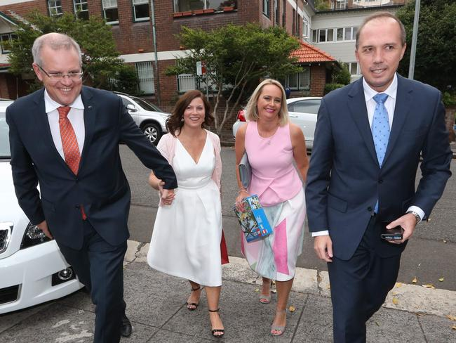 Then Immigration Minister Mr Dutton with Mrs Dutton, Treasurer Scott Morrison and wife Jenny. Picture: By James Croucher