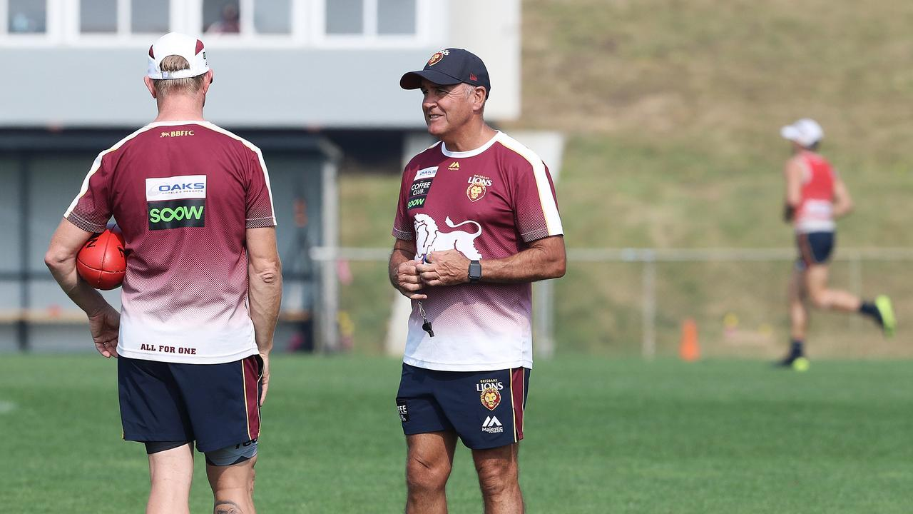 Brisbane Lions coach Chris Fagan at their pre-season camp at the Twin Ovals in Tasmania. Picture: Luke Bowden