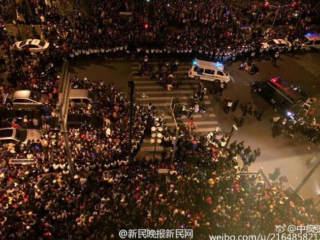 Crowd crush ... a stampede in Shanghai has led to deaths during New Year celebrations. Picture: Weibo