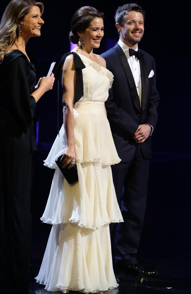 HRH Crown Prince Frederik and HRH Crown Princess Mary of Denmark attend Crown Prince Couple Awards at the Sydney Opera House in 2013.