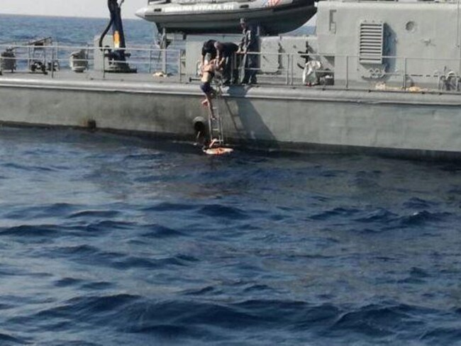 The rescue of the British woman who fell into the Adriatic. Picture: Supplied