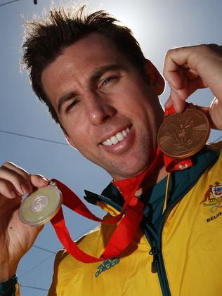 Grant with his medals after the Beijing 2008 Olympics. Picture: Kristian Dowling/Getty