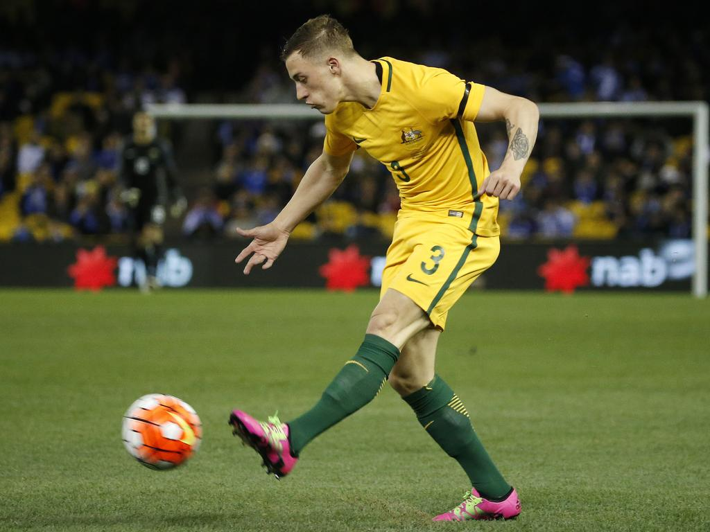 Alex Gersbach in action for the Socceroos versus Greece at Etihad Stadium.
