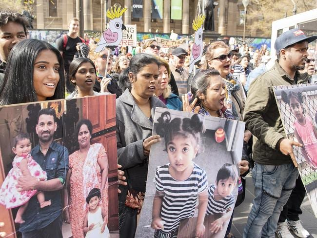 Supporters of the Tamil asylum seekers and their Australian-born children at a rally in Melbourne last Sunday. Picture: AAP