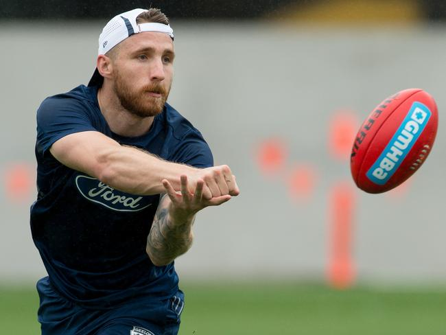 Zach Tuohy at Geelong training.