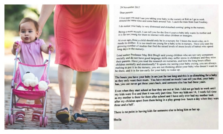Mum receives mystery letter slamming her for taking toddler to daycare