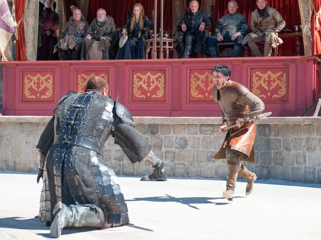 Oberyn Martell battles The Mountain. The end is crushing.