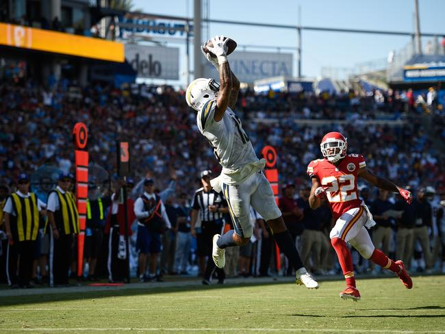 Wide receiver Keenan Allen #13 catches a pass from Chargers quarterback Philip Rivers. Picture: Getty