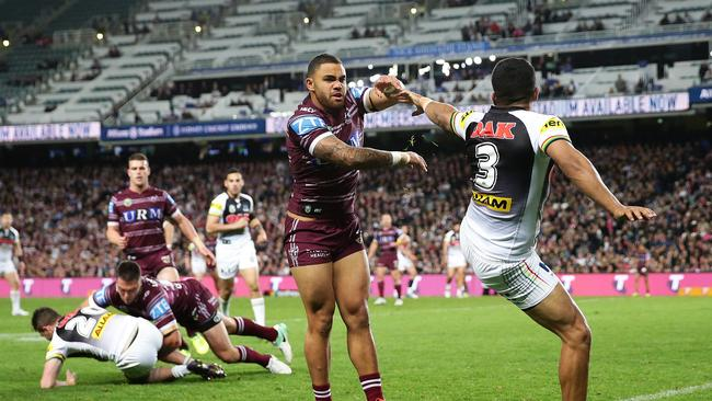 Manly's Dylan Walker pushes Penrith's Tyrone Peachey during the Manly v Penrith Elimination Final at Allianz Stadium, Sydney. Picture: Brett Costello