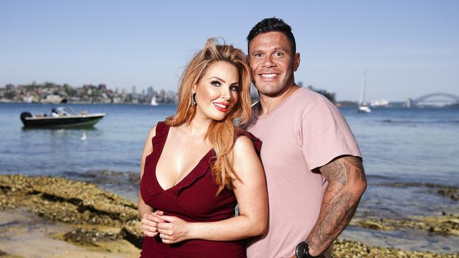 Former MAFS couple Sarah Roza and Telv Williams in Vaucluse, Sydney before their split was announced. Picture: Justin Lloyd.