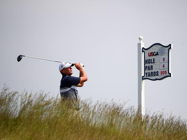 Steve Stricker of the United States plays his shot from the fifth tee during a practice round.