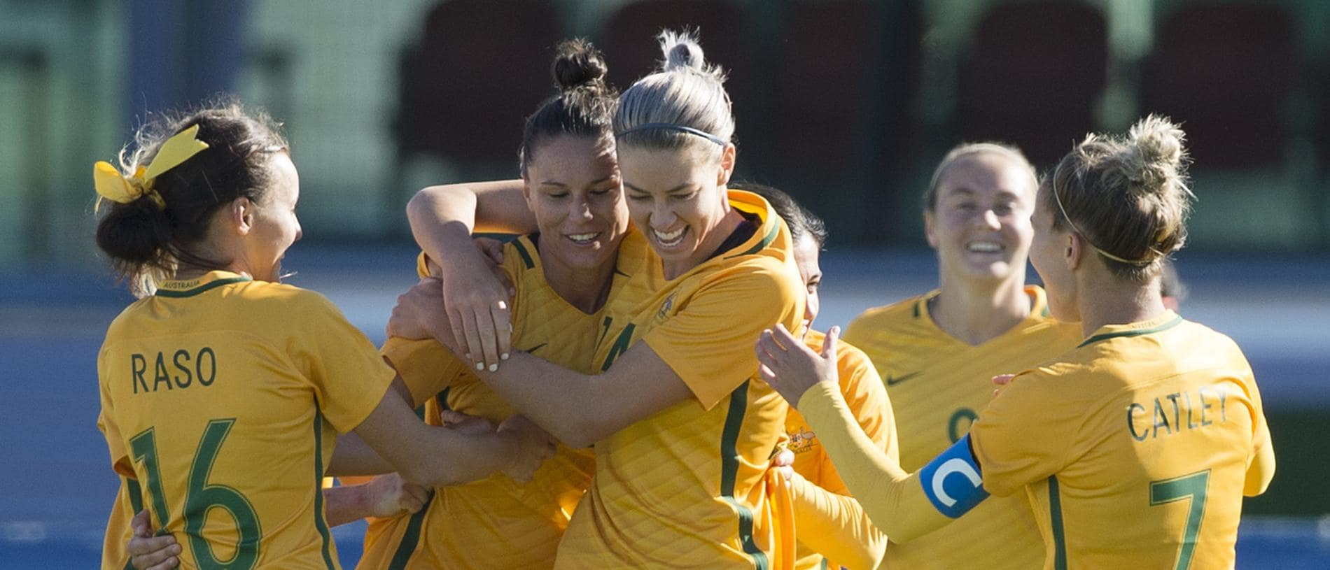 VILA REAL DE SANTO ANTONIO, PORTUGAL - MARCH 03: Emily Gielnik (second from left) is congratulated on scoring her second goal of the match for Australia during the Group C 2017 Algarve Cup match between Australia Women and Netherlands Women at the Vila Real de Santo Antonio Sports Complex on March 03, 2017 in Vila Real de Santo Antonio, Portugal. (Photo by Visionhaus/Corbis via Getty Images)