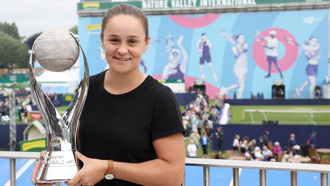 Ashleigh Barty of Australia poses with the WTA World number 1 trophy. Picture: Paul Harding/Getty Images for LTA