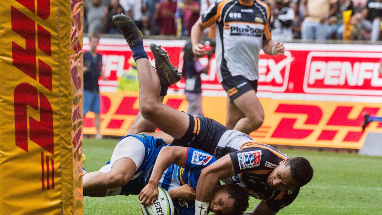 Brumbies winger Toni Pulu was shown a yellow card for his high shot on Herschel Jantjies to end the first half.
