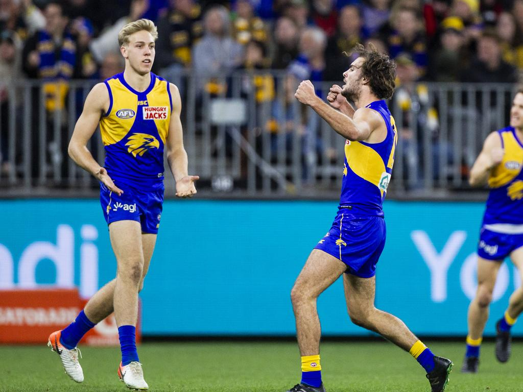 Jack Petruccelle of the Eagles celebrates a goal during the Round 14 AFL match between the West Coast Eagles and the Essendon Bombers at Optus Stadium in Perth, Thursday, June 20, 2019. (AAP Image/Tony McDonough) NO ARCHIVING, EDITORIAL USE ONLY