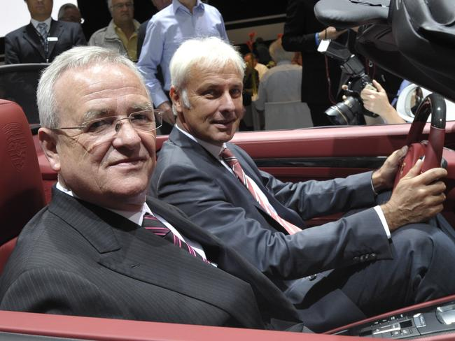 Leaders ... Volkswagen AG CEO and Porsche Automobil Holding SE CEO Martin Winterkorn (front) and Porsche AG CEO Matthias Mueller at the annual general meeting of Porsche Automobil Holding SE in Stuttgart on June 25, 2012. Picture: AFP/Thomas Kienzle
