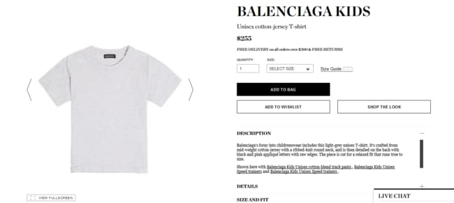 A Balenciaga Kids simple grey T-shirt will set you back $225, but you can get a grey kid's tee at best and less for just $3. Picture: Supplied