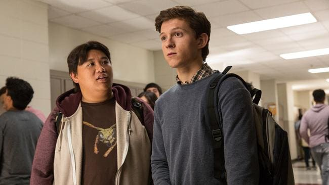 Jacob Batalon and Tom Holland in Spider-Man: Homecoming.