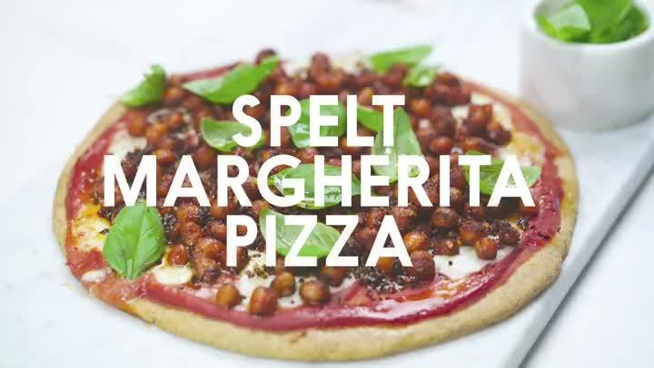 Spelt margherita pizza with 'pepperoni' chickpeas